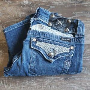 Miss me jeans dark wash bling angel wings 29x27
